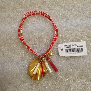 J CREW - Beaded Shell and Tassel Bracelet - NWT